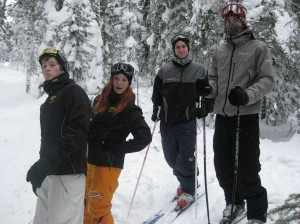 Sofie, Jonas, Sam and Mattias on snowboard