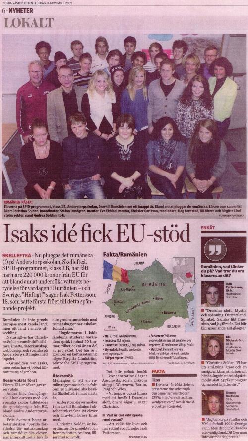 CREW in the local newspaper, Norra Västerbotten