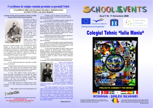 """The Technical College Iuliu Maniu's school magazin – """"School Events"""", a Comenius project, pages 1 and 12"""