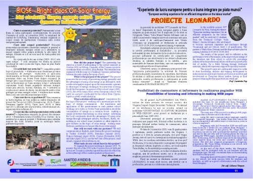 "The Technical College Iuliu Maniu's school magazin – ""School Events"", a Comenius project, pages 10 and 11"