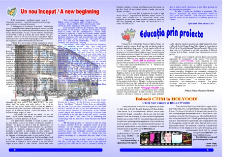 """The Technical College Iuliu Maniu's school magazin – """"School Events"""", a Comenius project, pages 2 and 3"""