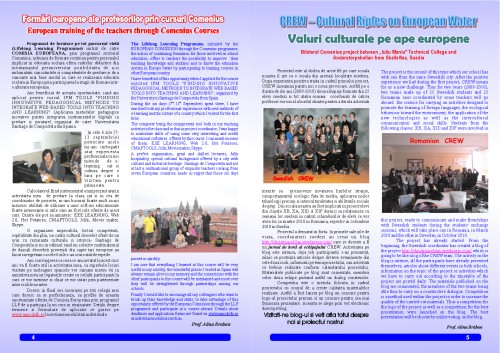 """The Technical College Iuliu Maniu's school magazin – """"School Events"""", a Comenius project, pages 4 and 5"""