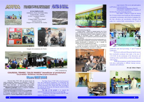 """The Technical College Iuliu Maniu's school magazin – """"School Events"""", a Comenius project, pages 8 and 9"""