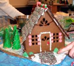 A gingerbread house made in December 2003, photographed by User:Tcr25.