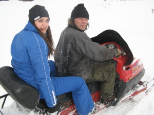 Diana (Romania) on the snowmobile in Burträsk, Sweden