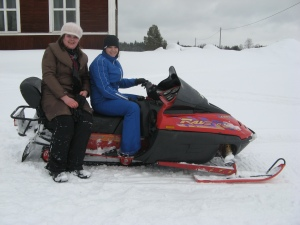Diana and Monica (Romania) on the snowmobile in Burträsk, Sweden