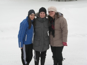 Diana (Romania), Felicia (Sweden) and Monica (Romania) have fun in Burträsk, Sweden