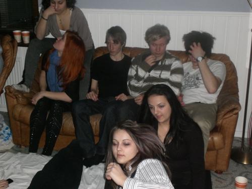 Andrea S. Sofie, Hannes, Viktor, Jonas, Andrea B. och Paula at Andreas' home - Skellefteå, Sweden