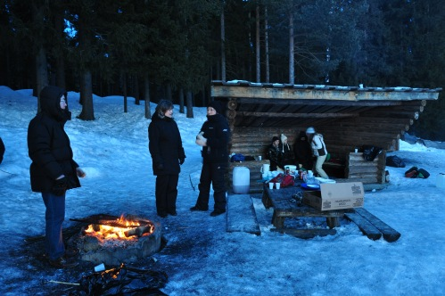 The Swedish and Romanian CREW have fun with sledge and barbeque