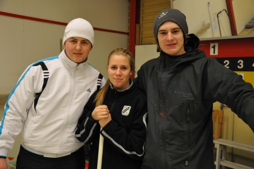 The Swedish and the Romanian CREW playing curling in Skellefteå, Sweden