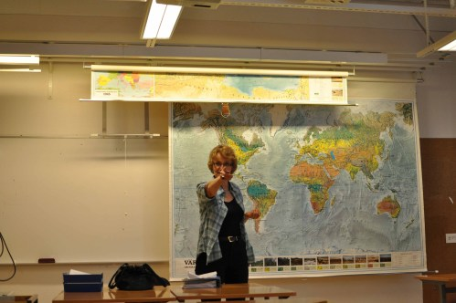 Eva Ekblad is a lesson in geography at Anderstorpsskolan in Skellefteå, Sweden