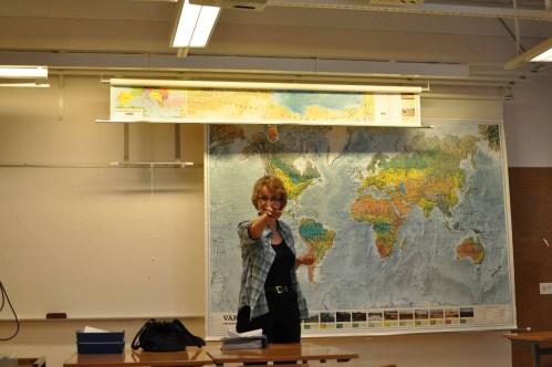 Eva Ekblad is a lesson in geography at Anderstorpsskolan in Skellefteå, Sweden