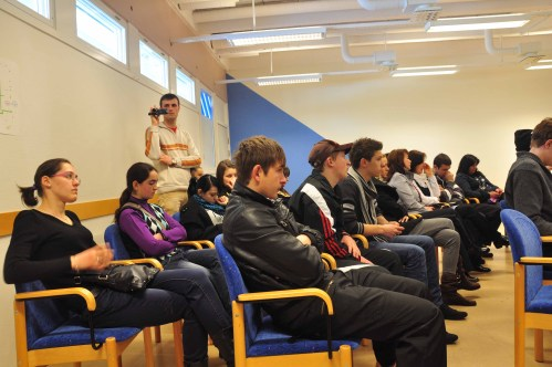 The Romanian students and teachers listen to the local politician Ann-Christin Westerlund, Skellefteå, Sweden