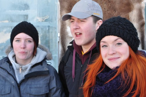 The Swedish and Romanian CREW on the bus trip to the Ice Hotel in Jukkasjärvi, Sweden
