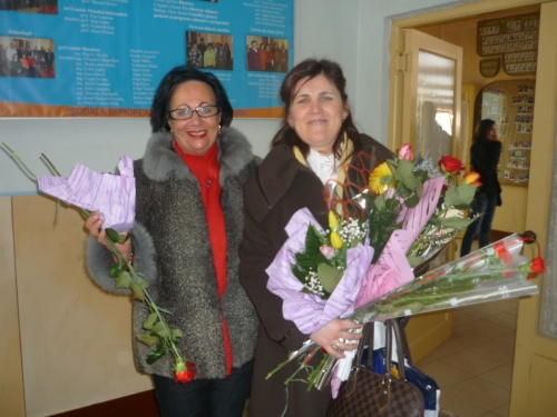 8th March in Iuliu Maniu Technical School, Romania. All female teachers got flowers from their students.