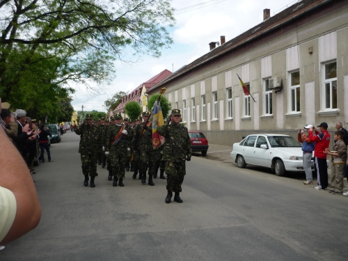 Europe Day 2010, Romania - a military company  was given a parade on the main street of the town