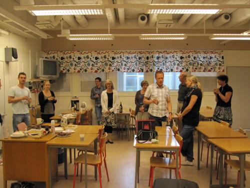 Celebration of a colleague who has been 60 years, Anderstorpsskolan in Skellefteå, Sweden