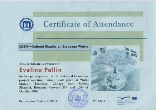 Evelina Pallin, student on SPID-programme at Anderstorpsskolan in Skellefteå, Sweden - Certificate of Attendance at CREW-meeting in Romania