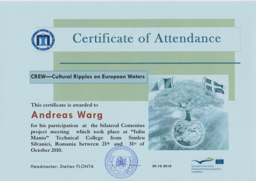Andreas Warg, student on SPID-programme at Anderstorpsskolan in Skellefteå, Sweden - Certificate of Attendance at CREW-meeting in Romania
