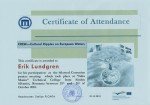 Erik Lundgren, student on SPID-programme at Anderstorpsskolan in Skellefteå, Sweden - Certificate of Attendance at CREW-meeting in Romania