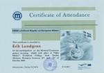 Erik Lundgren, student on SPID-programme at Anderstorpsskolan in Skellefteå, Sweden - Certificate of Attendance at CREW-meeting in Romania