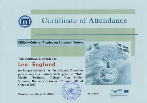 Leo Englund, student on SPID-programme at Anderstorpsskolan in Skellefteå, Sweden - Certificate of Attendance at CREW-meeting in Romania