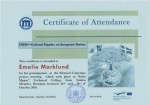 Emelie Marklund, student on SPID-programme at Anderstorpsskolan in Skellefteå, Sweden - Certificate of Attendance at CREW-meeting in Romania