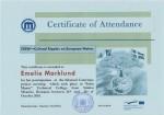 Emelie Marklund, student on SPID-programme at Anderstorpsskolan in Skellefteå, Sweden - Certificate of Attendance at CREW-meeting in Romania