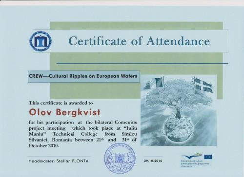 Olov Bergkvist, student on SPID-programme at Anderstorpsskolan in Skellefteå, Sweden - Certificate of Attendance at CREW-meeting in Romania