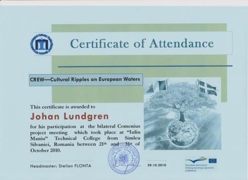 Johan Lundgren, student on SPID-programme at Anderstorpsskolan in Skellefteå, Sweden - Certificate of Attendance at CREW-meeting in Romania