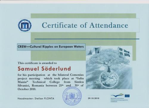 Samuel Söderlund, student on SPID-programme at Anderstorpsskolan in Skellefteå, Sweden - Certificate of Attendance at CREW-meeting in Romania