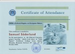 Samuel Söderlund, student on SPID-programme at Anderstorpsskolan in Skellefteå, Sweden - Certificate of Attendance at CREW-meeting in Romania