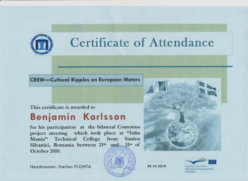 Benjamin Karlsson, student on SPID-programme at Anderstorpsskolan in Skellefteå, Sweden - Certificate of Attendance at CREW-meeting in Romania