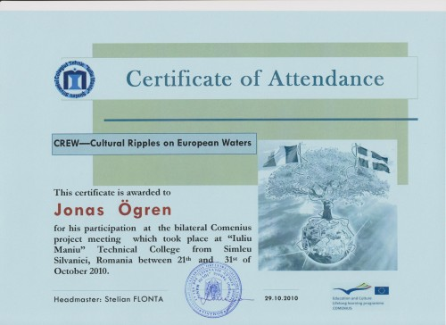 Jonas Ögren, student on SPID-programme at Anderstorpsskolan in Skellefteå, Sweden - Certificate of Attendance at CREW-meeting in Romania