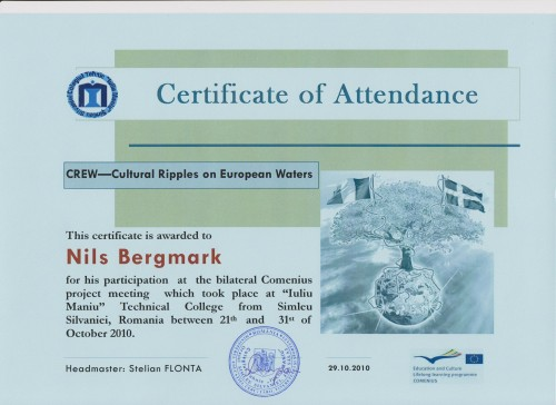 Nils Bergmark, student on SPID-programme at Anderstorpsskolan in Skellefteå, Sweden - Certificate of Attendance at CREW-meeting in Romania