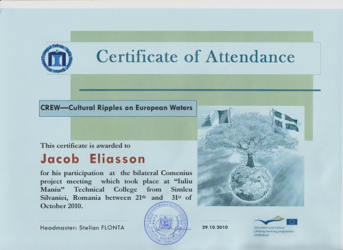 Jacob Eliasson, student on SPID-programme at Anderstorpsskolan in Skellefteå, Sweden - Certificate of Attendance at CREW-meeting in Romania