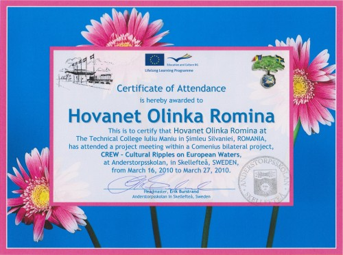Olinca Hovăneț, student at Technical College Iuliu Maniu - Simleu Silvaniei, Romania