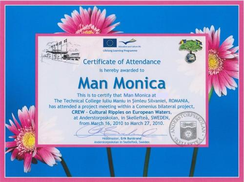 Monica Man, student at Technical College Iuliu Maniu - Simleu Silvaniei, Romania