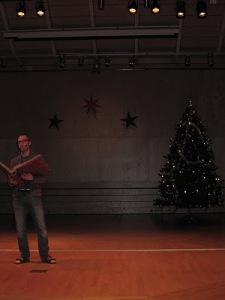 Fredrik läste upp den traditionela julsagan, julavslutning 2010