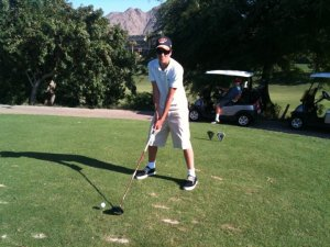 Me playing golf in Palm Springs