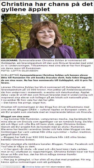Jag blev intervjuad av Västerbottens folkblad, 28 september 2011