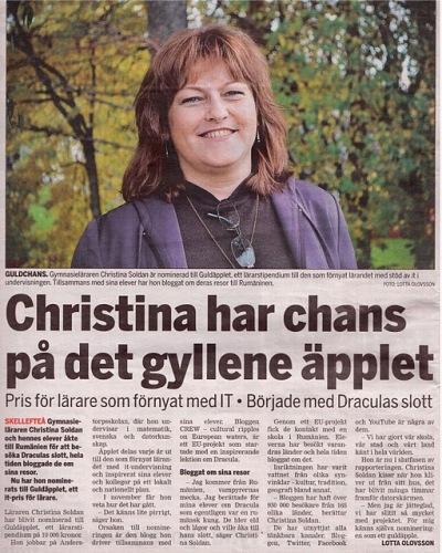Intervju i tidningen Västerbottens folkblad, 29 september 2011