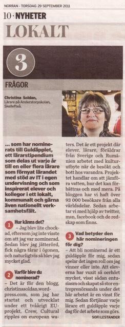 Jag intervjuades av Norran via telefon, 28 september 2011